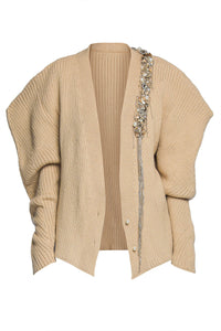 Embellished Structured Cardigan - Camel