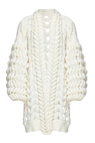 Open Weave Sweater Jacket - Ivory
