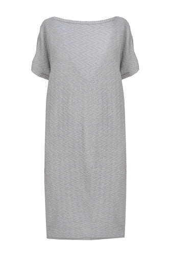 Chevron Knit Dress - Grey