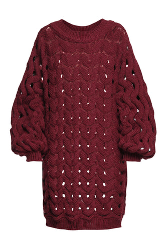 Open Weave Sweater Dress - Wine