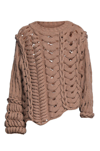 Asymmetric Mixed Stitch Sweater - Brown