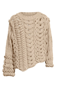 Asymmetric Mixed Stitch Sweater - Ivory