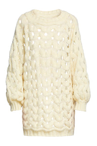 Open Weave Sweater Dress - Ivory
