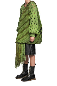 Fringe Knit Oversize Shoulder Bag - Green