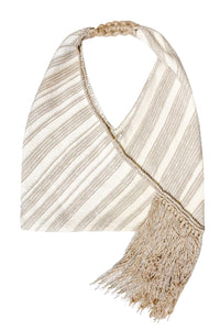 Fringe Knit Oversize Shoulder Bag - Ivory
