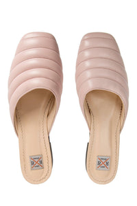 Quilted Leather Mules - Pink