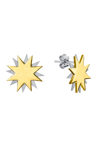 Double Star Earrings - Silver and Gold