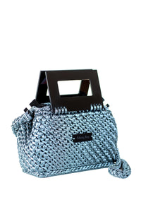 Plexiglass Top Handle Knit Bag - Blue