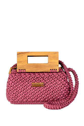 Wood Top Handle Knit Bag - Rose