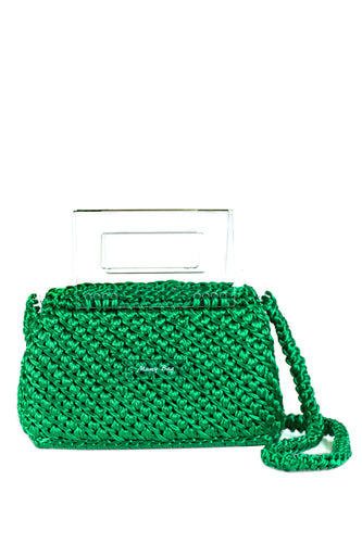Plexiglass Top Handle Knit Bag - Green