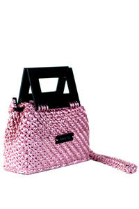 Plexiglass Top Handle Knit Bag - Pink