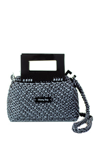 Plexiglass Top Handle Knit Bag - Asphalt Grey