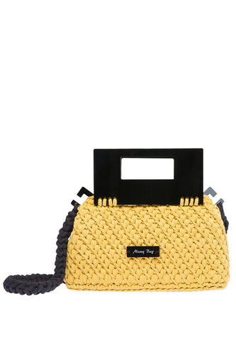 Plexiglass Top Handle Knit Bag - Yellow
