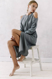 Cold Shoulder Dress — Grey