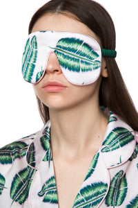 Silk Sleep Mask - Tropical Leaf Print