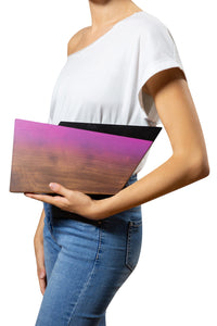 Ombre Geometric Wood Clutch