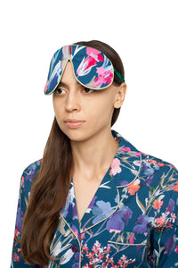 Silk Sleep Mask - Wildflowers Print with Green Trim