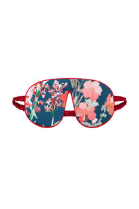 Silk Sleep Mask - Wildflowers Print with Red Trim