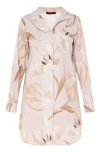 Cotton Shirtdress - Tulip Print