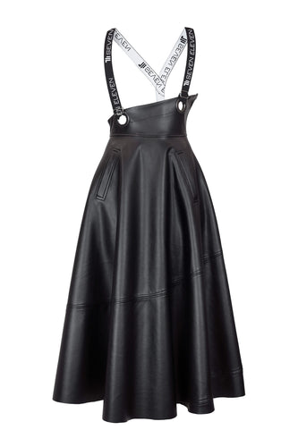 Eco Leather Suspender Midi Skirt - Black