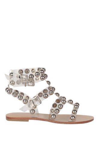 Shiny T Strap Studded Ankle Wrap Sandals