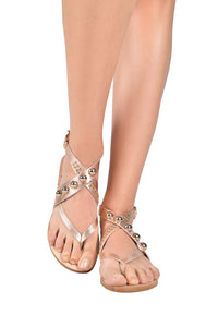 Bronze Studded Thong Sandals