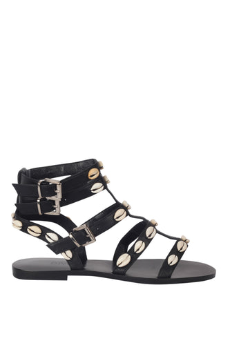 Seashell Lover Gladiator Sandals - Black