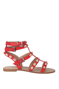 Seashell Lover Gladiator Sandals - Red