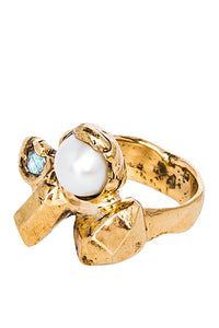 Pearl and Cubic Zirconia Ring - Luck