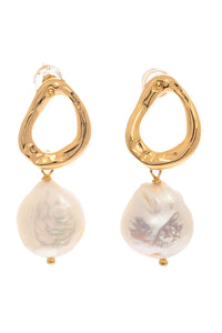 Baroque Pearl Hammered Drop Earrings - Gold