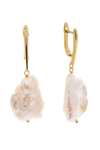 Mini Baroque Pearl Drop Earrings - Gold