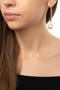 Baroque Pearl Spear Earrings - Gold
