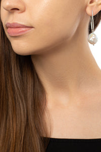 Round Baroque Pearl Drop Earrings - Silver