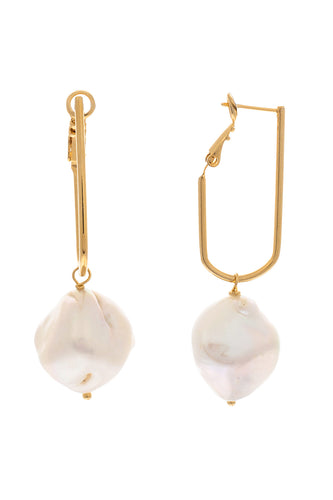 Round Baroque Pearl Drop Earrings - Gold