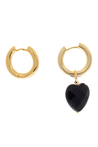 Agate Heart Charm Hoop Earrings - Gold