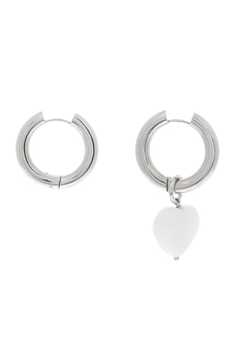 Single Heart Charm Hoop Earrings