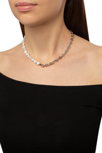 Baroque Pearl Cable Chain Choker Necklace