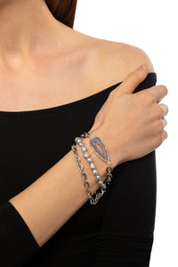 Baroque Pearl and Chain Link Triple Bracelet Set