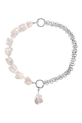 Baroque Pearl Double Link Charm Necklace