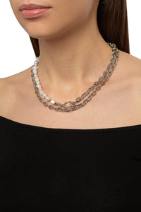 Baroque Pearl Chain Link Mixed Strand Set
