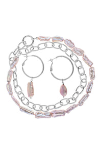 Baroque Pearl Circle Link Necklace and Earrings Set