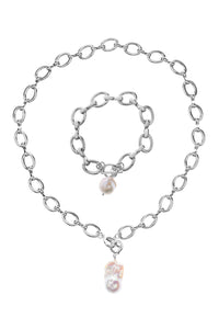 Circle Link Necklace and Bracelet Set with Baroque Pearls - Silver