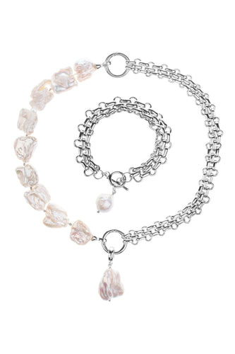 Baroque Pearl Double Link Charm Necklace and Bracelet Set