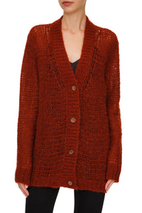 Sheer Knit Cardigan - Red