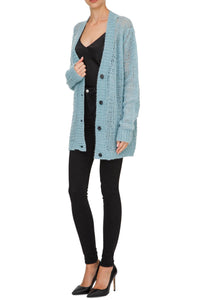 Sheer Knit Cardigan - Blue