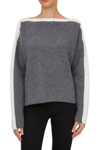 Bicolor Ribbed Boatneck Sweater - Grey