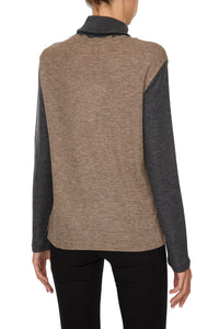 Bicolor Turtleneck Sweater