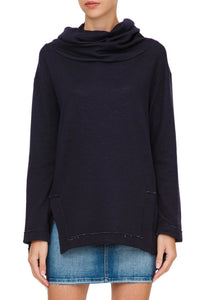 Cowl Neck Sweater - Navy