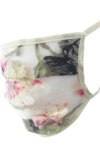 Pleated Silk Face Mask - Flowers
