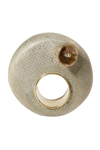 Concrete Pearl Gilded Orb Ring